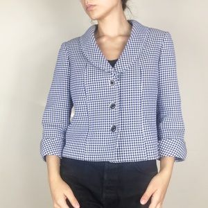 Tahari ASL Houndstooth 3 Button Roll Sleeve Blazer